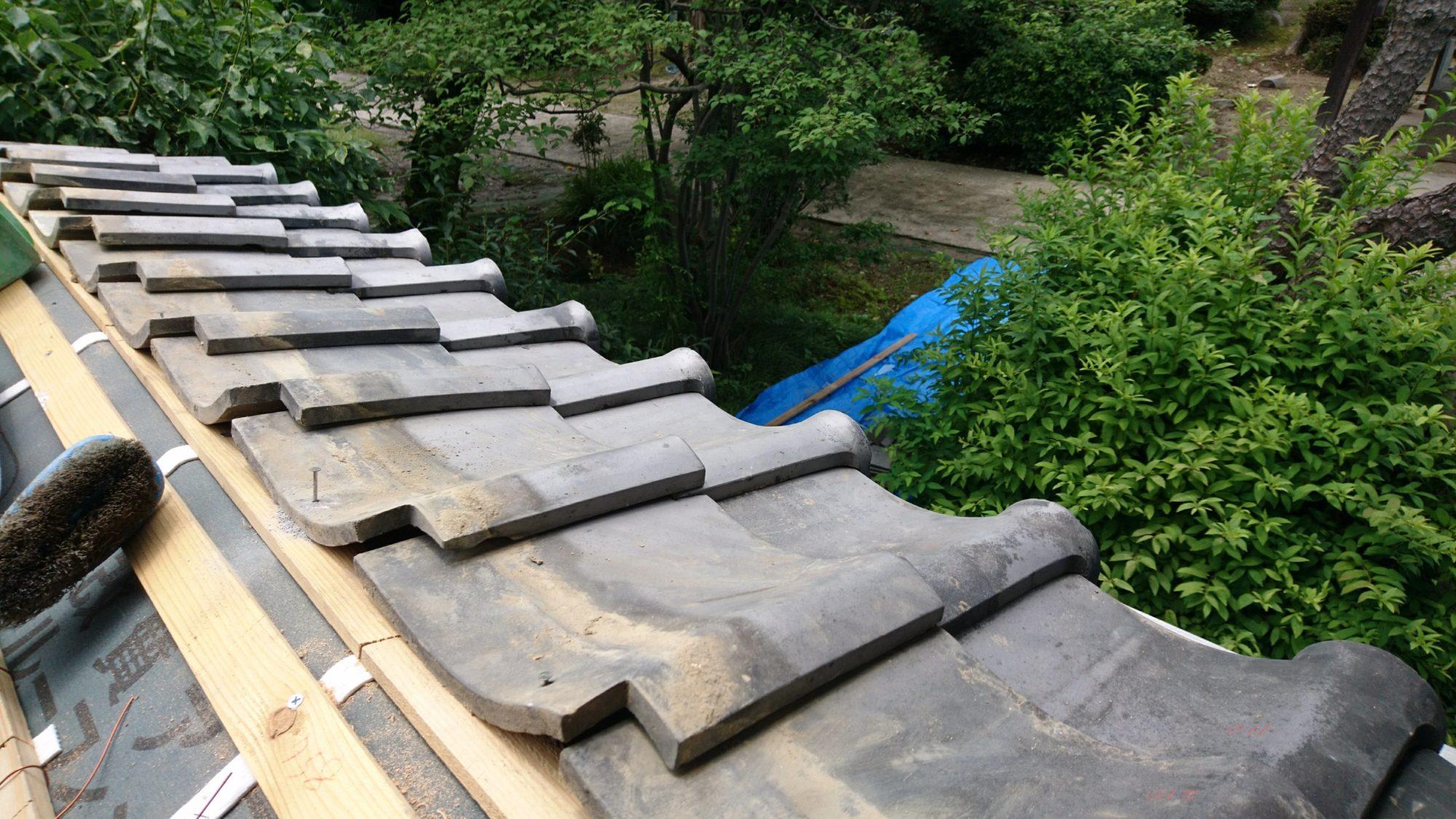 一宮市のお寺で、塀の改修工事をしています。